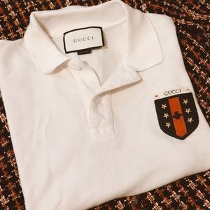 Authentic Gucci patch polo top